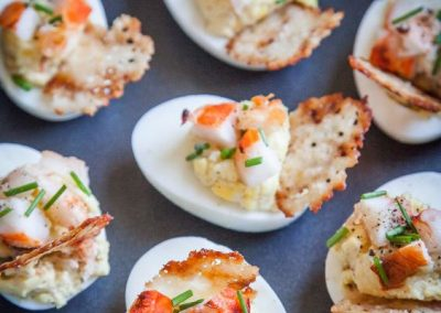 Lobster & Chives Deviled Eggs with Truffle Salt & Parmesan Crisp
